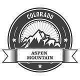 Aspen, Colorado - mountain peak round stamp