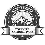 Yosemite National Park round stamp with mountains