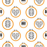 Needlework design on embroidery hoops pattern.