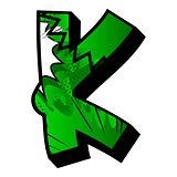 Letter K filled with comic book background.