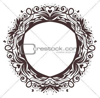 Black round floral frame ornament