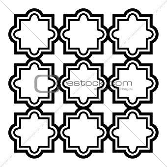 Arabic seamless pattern set - Islamic design, black and white geometric art