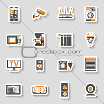 Smart House and internet of things sticker icons set