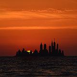 Big island city skylines at sunrise