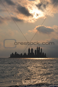 City skyline scene viewing from the sea