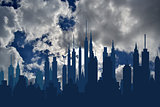 Futuristic city skylines on blue sky