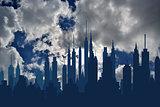 Futuristic city skylines on blue sky