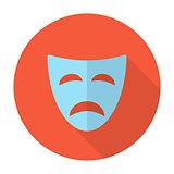 Tragedy mask flat icon