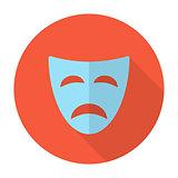 Tragedy mask flat icon