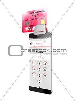 Smartphone and credit card reader
