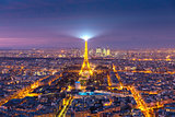 Aerial view of Eiffel Tower in Paris, France