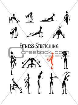 Fitness stretching set, sketch for your design