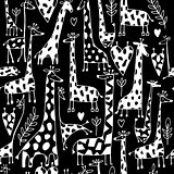 Funny giraffes sketch, seamless pattern your design