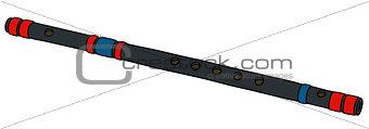 black wooden flute