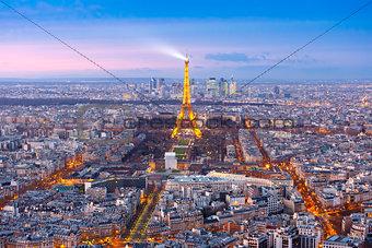 Aerial night view of Paris, France