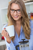Woman Girl Wearing Glasses Drinking Tea or Coffee