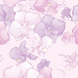 Beautiful Seamless Pattern with Orchid Flowers