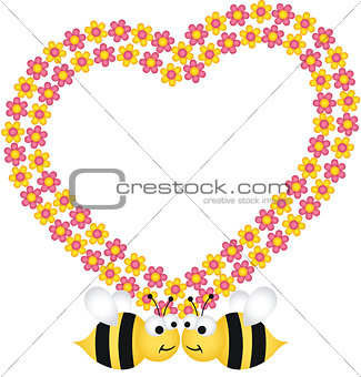 Couple bees with flower heart frame