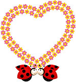 Couple ladybirds with flower heart frame