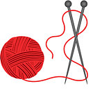Red ball knitting wool