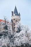 Chateau Zleby in winter, Czech Republic.