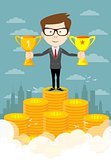 Success businessman standing in a podium