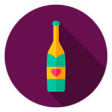 Champagne Bottle Circle Icon