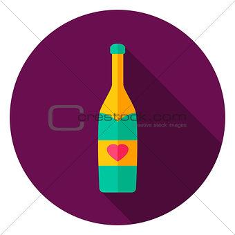 Champagne Bottle Circle Icon