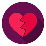 Broken Heart Circle Icon
