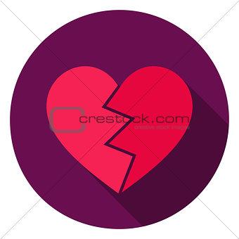 Broken Heart Circle Icon