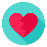 Broken Heart Flat Circle Icon