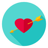 Arrow Pierced Heart Circle Icon