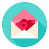 Envelope with Hearts Circle Icon