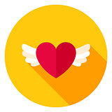 Heart with Wings Circle Icon