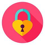 Heart Padlock Circle Icon