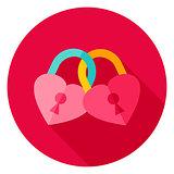 Hearts Padlock Circle Icon
