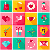 Happy Valentine Day Colorful Icons