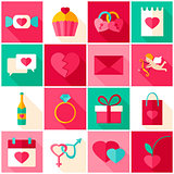 Happy Valentines Day Colorful Icons