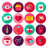 Happy Valentines Day Flat Icons