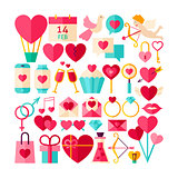 Happy Valentines Day Objects Set