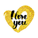I Love You Gold Inscription