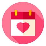 Love Calendar Circle Icon