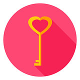 Love Key Circle Icon