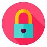 Love Padlock Circle Icon