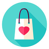 Love Shopping Bag Circle Icon