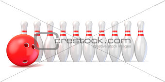Bowling pins lined and bowling ball. 3D