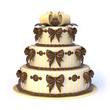 Three floors yellow cake with ribbon bows. 3D
