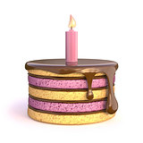 Birthday cake with one candle. 3D