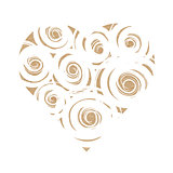 Craft paper heart with white swirls
