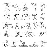 Cartoon icons sport set of sketch little people in cute miniature scenes.
